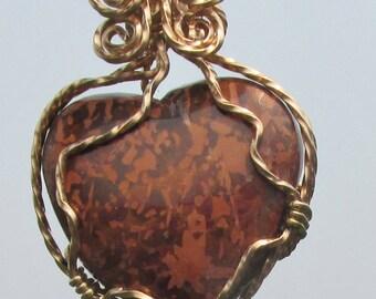 Picture Jasper, Script Stone, Heart, wire wrapped in bronze wtre