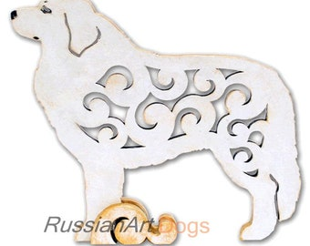 Perinean Mountain Dog figurine, Great Pyrenees dog statue made of wood (MDF), statuette hand-painted with acrylic and metallic paint