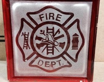 firefighters glass block
