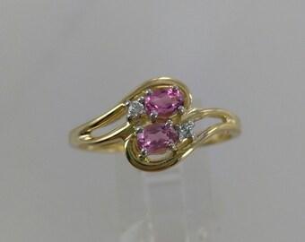 Vintage Pnk Tourmaline & Diamond 10k Ring, Sz 9