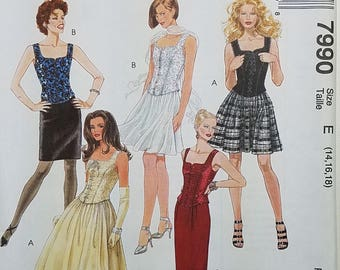 Misses' Lined Top and Skirts in Two Lengths Clothing Pattern. Uncut. Size E 14, 16, 18. McCall's 7990.