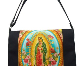 "US Handmade Laptop Case Shoulder Bag With ""VIRGIN MARY"" Pattern Messenger bag With Adjustable Handle Purse, Cotton, New"