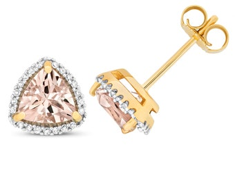 9ct Gold 0.14ct Diamond & Trillion Cut Pink Morganite 6mm Stud Earrings