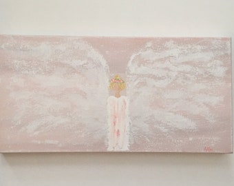 Angel Painting, guardian angel painting, angel art, angel wings, spiritual art, nursery decor