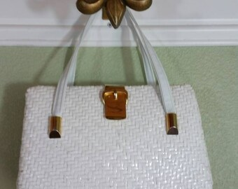 Woven Wicker Top handle Handbag by Koret, White, boxy
