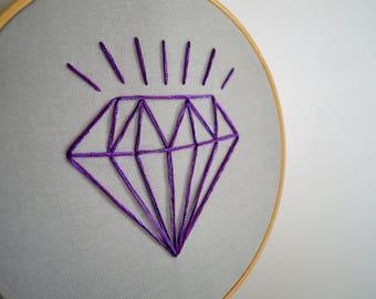 "Diamond - Hand Embroidery Hoop Art - 7"" - Shimmery - Nursery Art - Baby Shower - Nursery Decor - Shine Bright like a Diamond - Artwork"