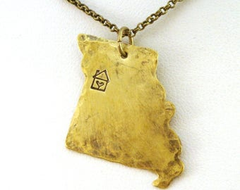 Missouri Necklace in Brass - Missouri State Necklace - Home is Where the Heart Is Necklace