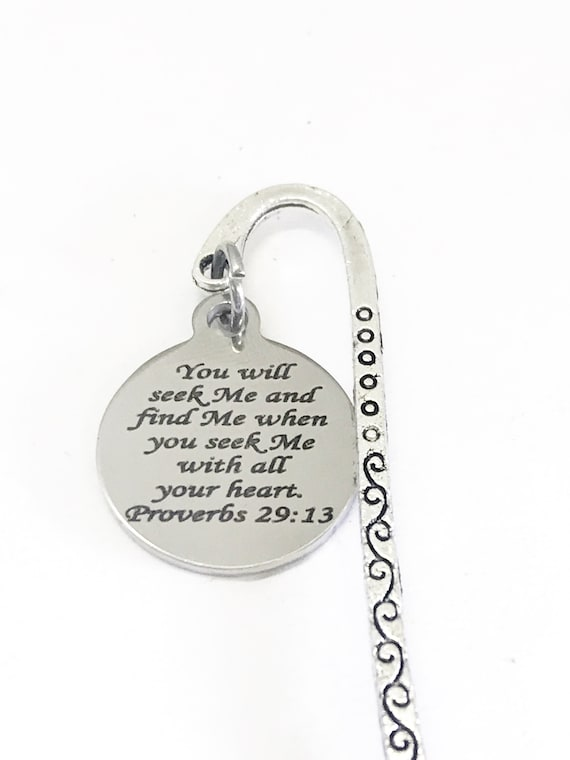 Bible Bookmark, Bible Verse Gifts, Seek Me And Find Me, Proverbs 29 13 Gift, Bookmark Gift, Planner Bookmark, Bible Gifts, Christian Gifts