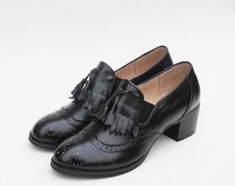 Leather Handmade Black Tassel Vintage-inspired Wedding Gifts Oxfords Shoes Brogues Derby Wingtips Heels