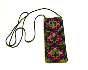 Cross Stitch Embroidered Eye Glass Case Pouch - (pink yellow white green)