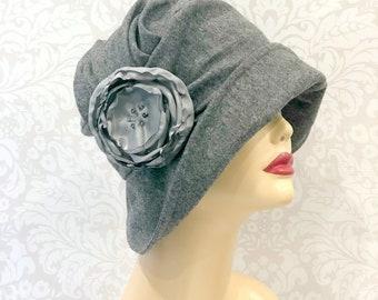 Womens Cloche Hat - Flapper Cloche - Gray Wool Cloche - Spring Cloche - Wide Brim Cloche - Elegant Cloche - Modern Cloche - Handmade in USA