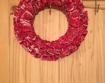 """12"""" Red Bandanna Cotton Fabric Wreath, Made in Maine Perfect for Living Room, Dining Room, Entryway, House Warming, Gift"""