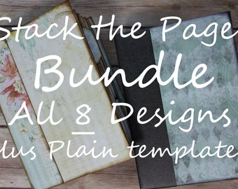 BUNDLE Stack the Pages Printable Mini Album Templates ALL 8 Designs + Plain