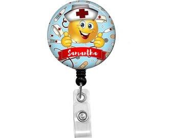 Emoji Nurse Badge Reel - Id Badge Holder - Badge Holder - ID Badge Reel - Retractable Badge - Nurse - Kids Nurse -Childrens Nurse Badge