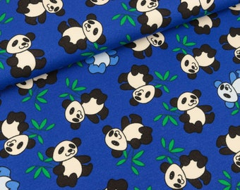 Cotton jersey Small panda on blue (9.90 EUR/meter)