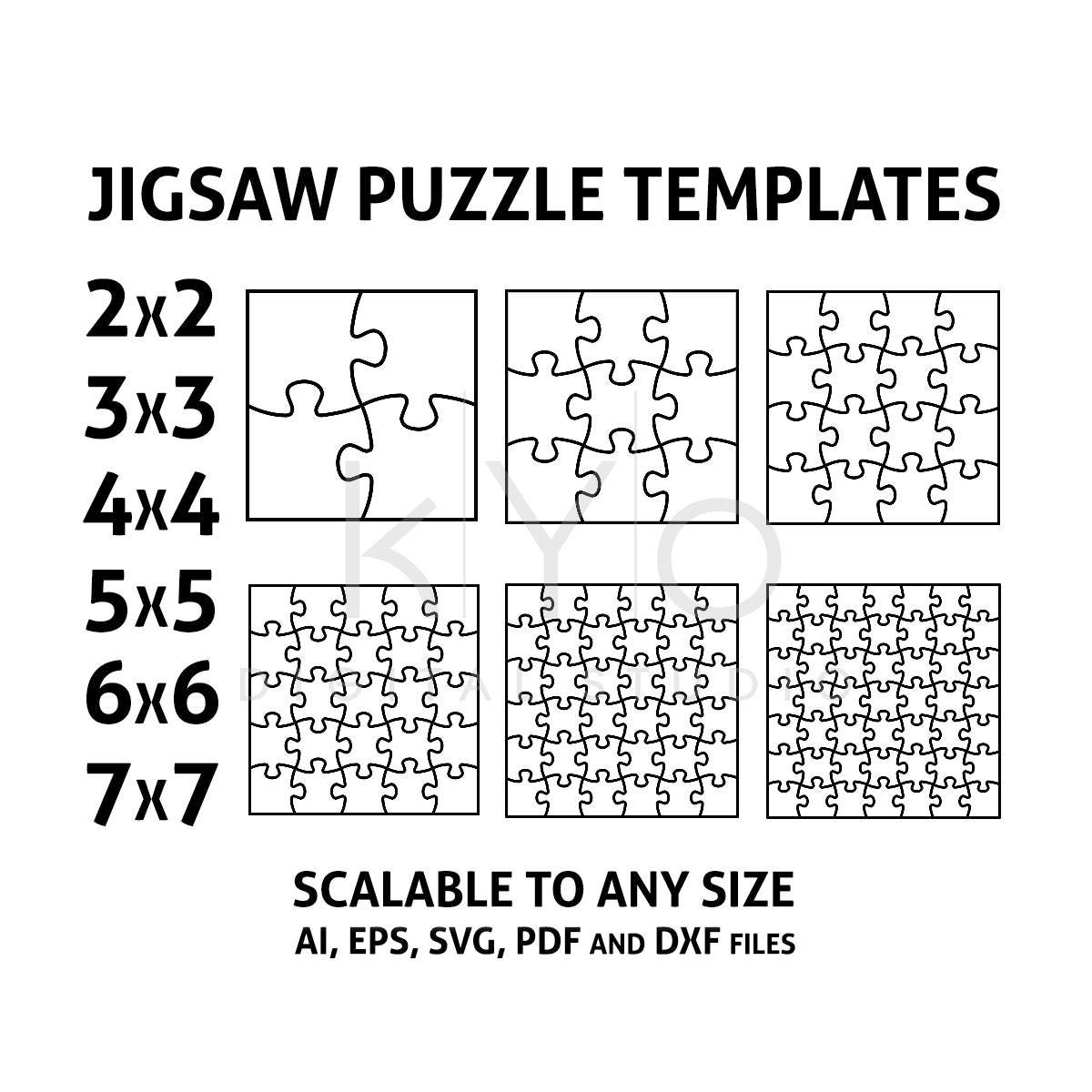 Jigsaw Puzzle Templates AI EPS SVG pdf dxf files Square