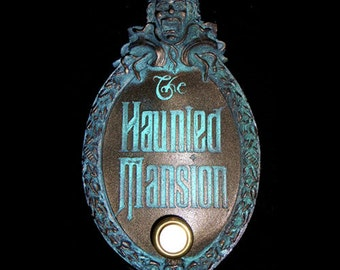 Haunted Mansion Mini Gate Plaque Finished With Door Bell Button