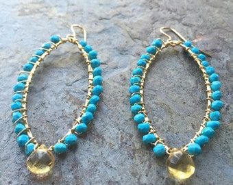 Turquoise gemstone and citrine gold hoop statement earrings