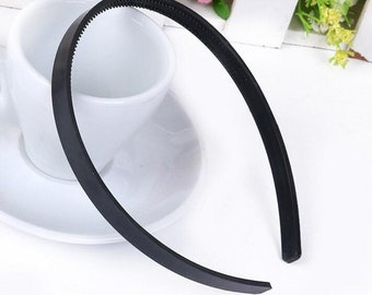 wholesale 10pieces black plastic hair headband covered 10mm wide(#0518)