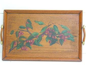 Cherry French Wooden Tray - French Antique painting - Hand Painted By An Artist - Cherries - French Oil Painting
