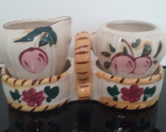 Vintage 1960's - Floral Design - Milk & Sugar Bowls with Tray - Made in Japan