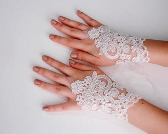 Ivory Lace Gloves, Lace Fingerless Gloves Ivory Fingerless Gloves, Bridal lace gloves