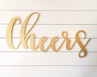 Large Cheers sign, wood cut out, wedding cut out, cheers, wedding sign, laser cut
