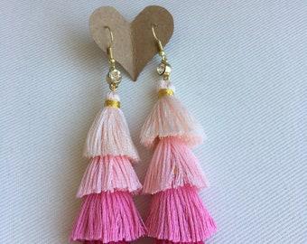 Pink Ombré Tassel Earrings, Trendy Earrings, Boho Accessories, Bohemian Earrings, Tassel Earrings
