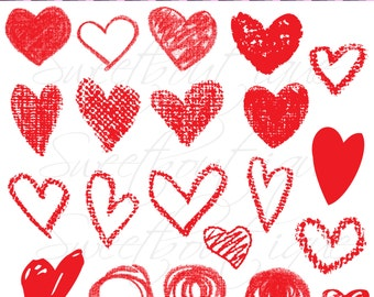 RED Valentines day clipart, Chalk clip art, Hand draw heart clipart, Heart clipart, Love clip arts, Digital Clip Art, Digital hearts 0784