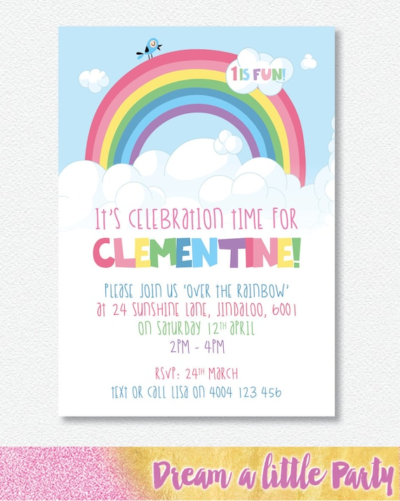 RAINBOW Party Invitation Personalised Digital file