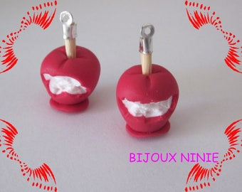 2 charm Fimo gourmet toffee Apple