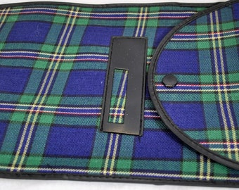 TVintage Tartan Plaid Navy Blue Green Red Small Travel Accessories Bag With Snap Closure