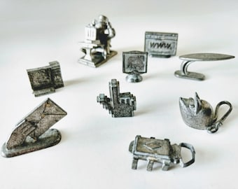 Monopoly Game Pieces, Nine Computer tokens, from the Dot Com Monopoly Game, Mouse Email charms, Guy pewter token, Web World Metal Figurines