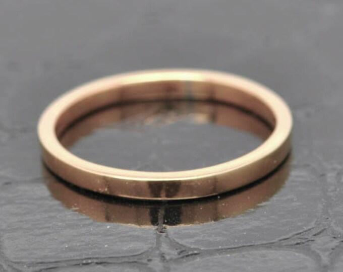 14K Rose Gold Ring, 1.5mm x 1mm, Wedding Band, Wedding Ring, Rose Gold Band, Flat Band, Square Band, Size up to 12