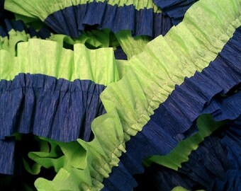 Navy and Bright Green Ruffled Crepe Paper Streamers - 36 Feet - Party Decor Hanging Decoration Supplies