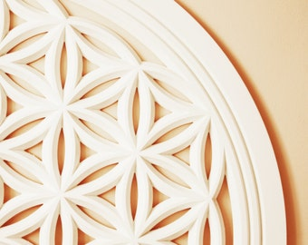 Blooming life - The universe emerging.  Flower of Life Wood Carving, Sacred Geometry Art and a Spiritual Mandala.