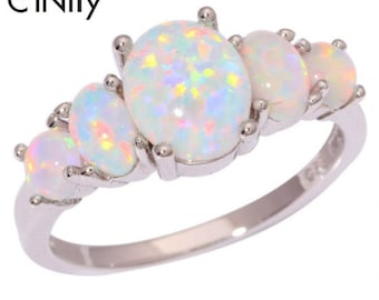 White Fire Opal Silver Plated Ring