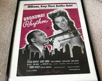 Milkman, Keep Those Bottles Quiet Vintage Framed Sheet Music from MGM's Broadway Rhythm Movie Musical