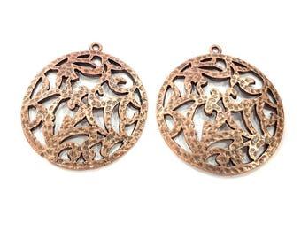 2 Copper Pendant Antique Copper Pendant Antique Copper Plated Metal (36mm) G11518