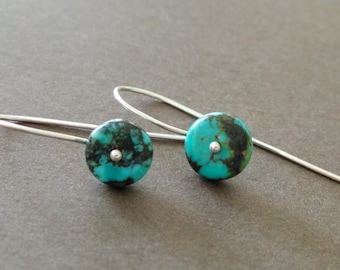 Petite Turquoise Earrings Sterling Gemstone Birthstone Earrings Simple Modern Earrings Understated Earrings