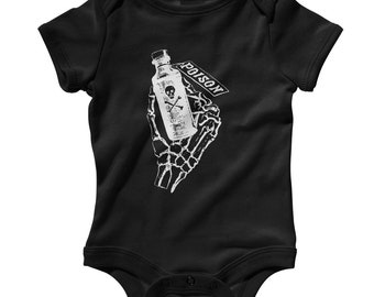 Baby Poison Hand Romper - Infant One Piece - NB 6m 12m 18m 24m - Poison Gift, Skull and Crossbones Baby, Skeletal Baby, Death Baby