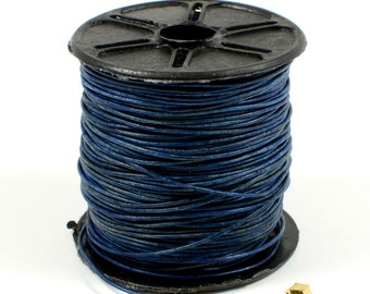 Denim/ Navy Blue Leather Cord, Lead Free, 0.5mm,  Genuine Leather Cord, Round Leather Cord, RETAIL - 1 YARD/order
