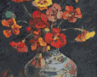 Flower Cross Stitch Chart, Vase with Petunias Cross Stitch Pattern PDF, Art Cross Stitch, Floral Cross Stitch, Nicolae Darascu