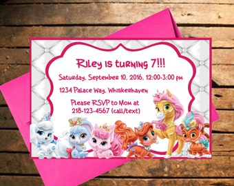 Downloadable Palace Pets Themed Birthday Invitation