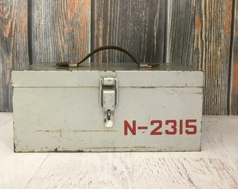 Industrial METAL BOX with Numbers- Art Supply Box Organizer- Vintage Industrial Carrier with Leather Handle