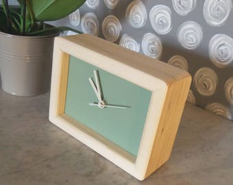 green rectangular clock