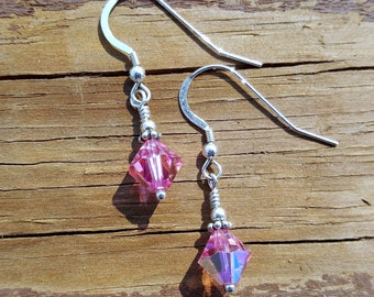 Shimmering Pink Swarovski Crystals, Wire Wrapped in Sterling Silver
