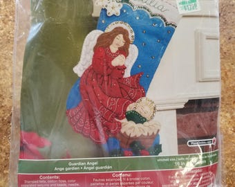 NOS Bucilla 86483 Guardian Angel Christmas Stocking, felt stocking with sequin, beads and embroidery