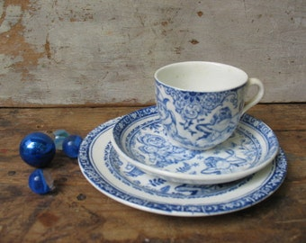 Punch And Judy 1890 Flow Blue 3 Piece Child's Tea Set Trio, C.Allerton & Sons England, Pulcinella Children's Tea Set, Cup And Saucers