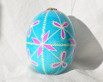 Pysanky Ukrainian Egg Simple beauty on decorated chicken egg Turqoise with pink stars and petals Yellow pine needles Made in Michigan USA
